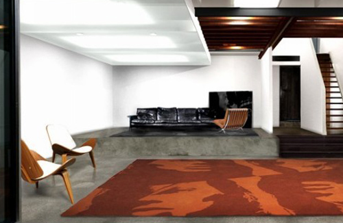 contemporary-area-rugs-floor-carpet-orange-color