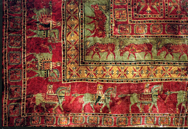 The ancient Pazyryk rug, close up.