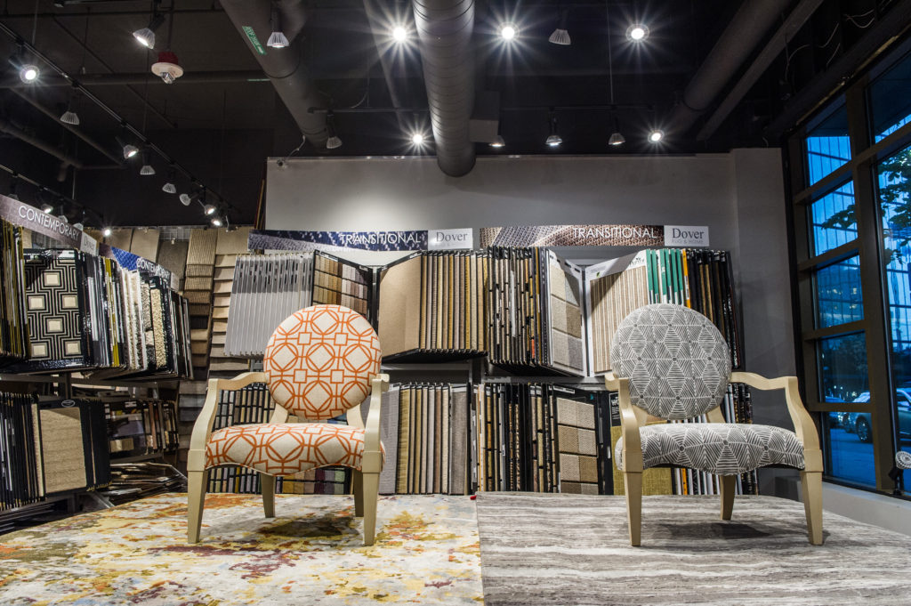 Dowel chairs parted with Dover rugs